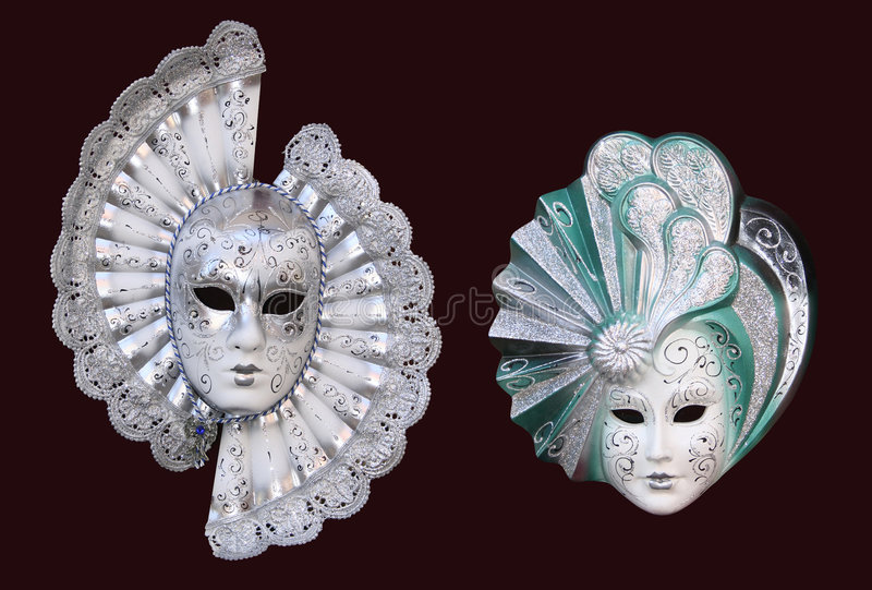 Masks from Venice. Handmade Venetian masks. The colours of the masks are typical of 18th century theatre in Italy royalty free stock photos