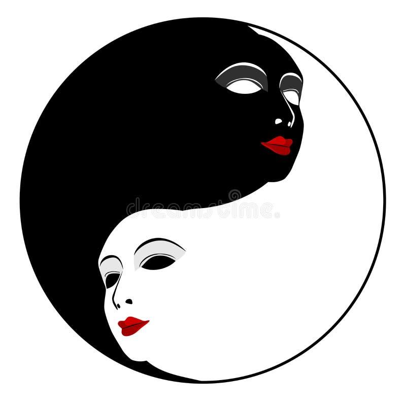 Masks. Ying yang symbol stock illustration