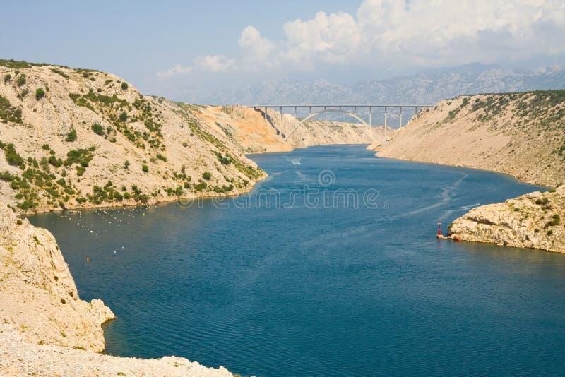 Maslenica cieśnina Adriatycki morze, północ Zadar, Chorwacja fotografia royalty free