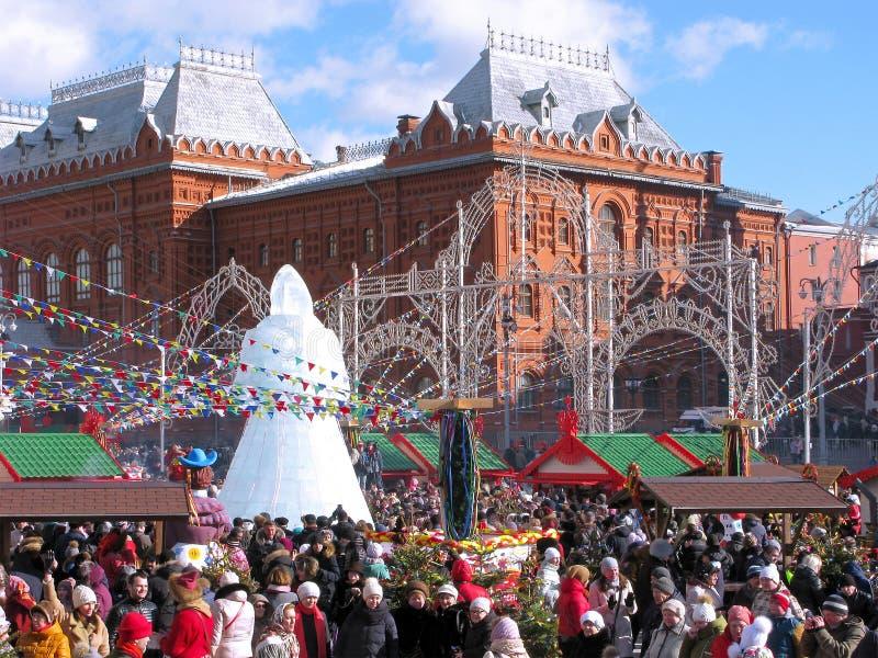 Maslenitsa i Moskva, Ryssland royaltyfri bild