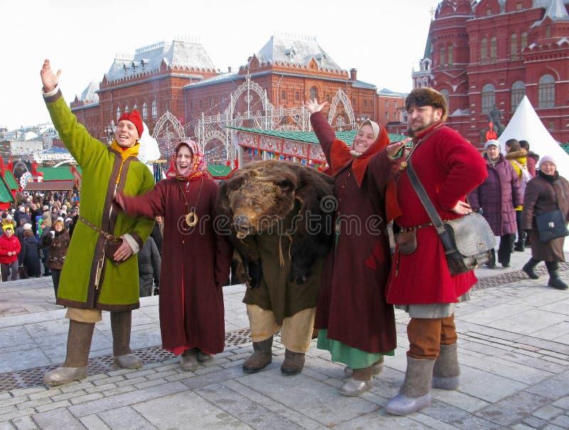 Maslenitsa in Moskou, Rusland royalty-vrije stock foto's
