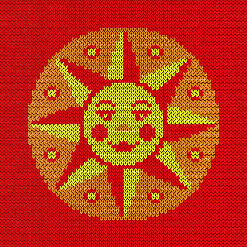 Maslenitsa, Shrovetide. Russian traditional spring holiday. Stylized sun with face. Imitation knitted fabric royalty free illustration