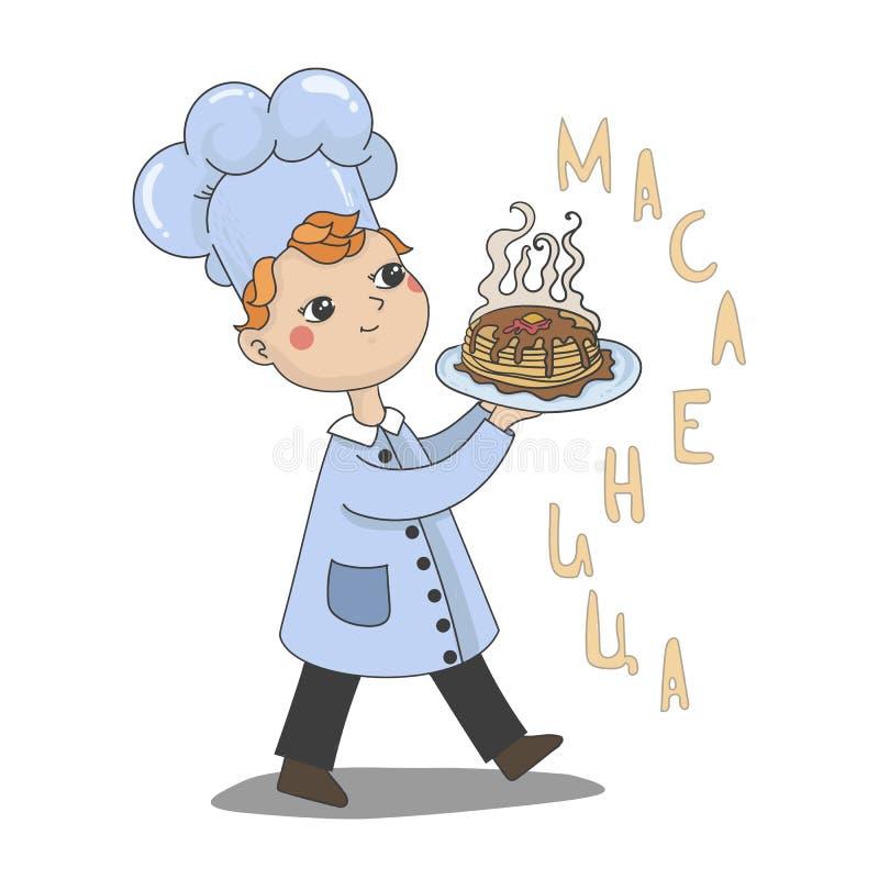 Maslenitsa or Shrovetide. Vector pancakes illustration. royalty free illustration