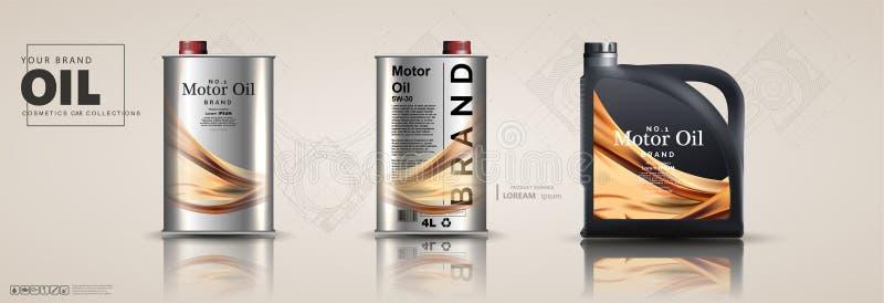 Bottle engine oil on a background a motor-car stock illustration