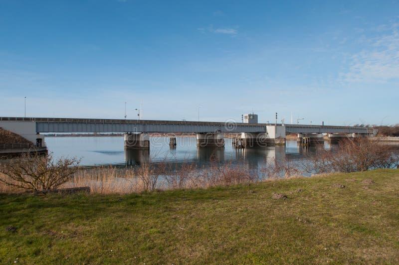 The Masnedsund bridge in Vordingborg Denmark. The Masnedsund bridge in town of Vordingborg Denmark royalty free stock photos