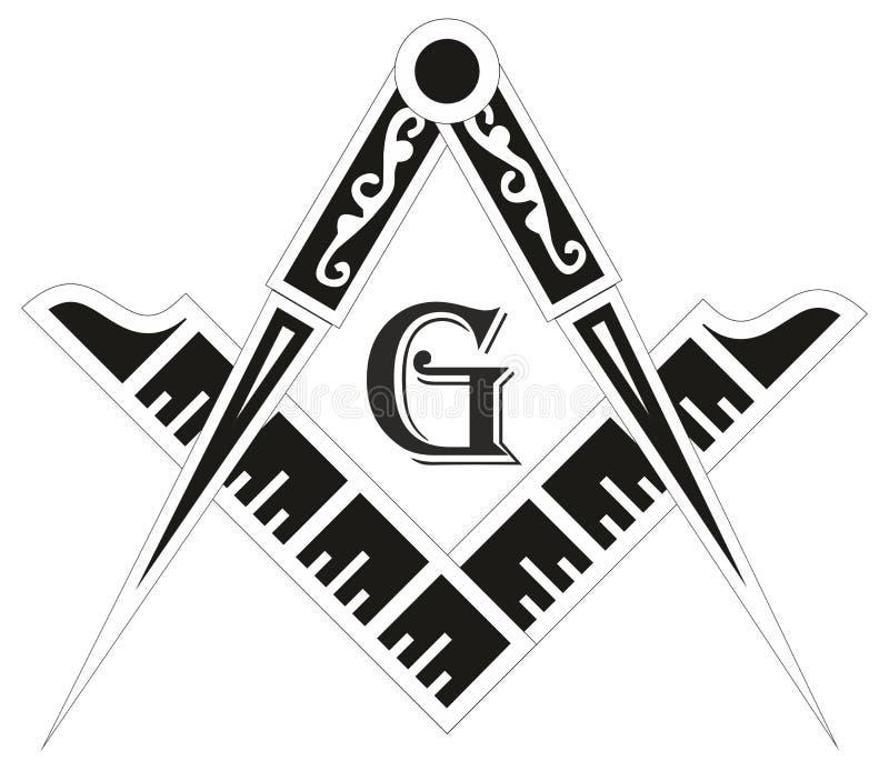 Masoński emblemat - wolnomularski kwadrata i kompasu symbol ilustracja wektor
