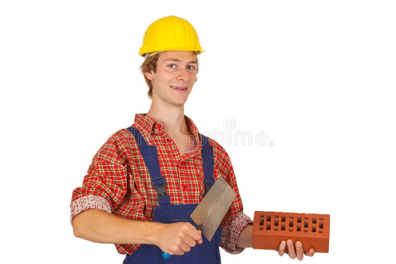 Mason. With brick and trowel isolated on white background royalty free stock photography