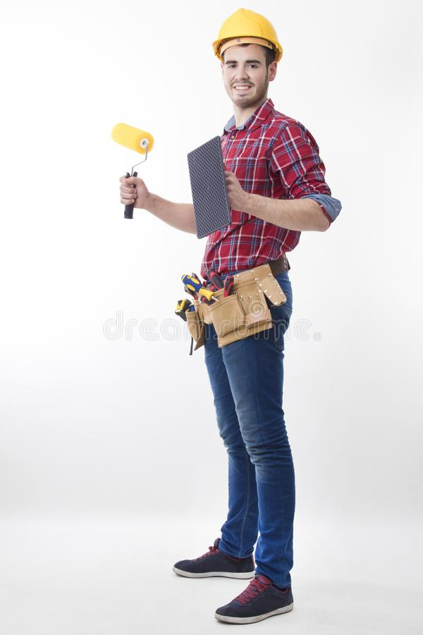 construction worker isolated stock image