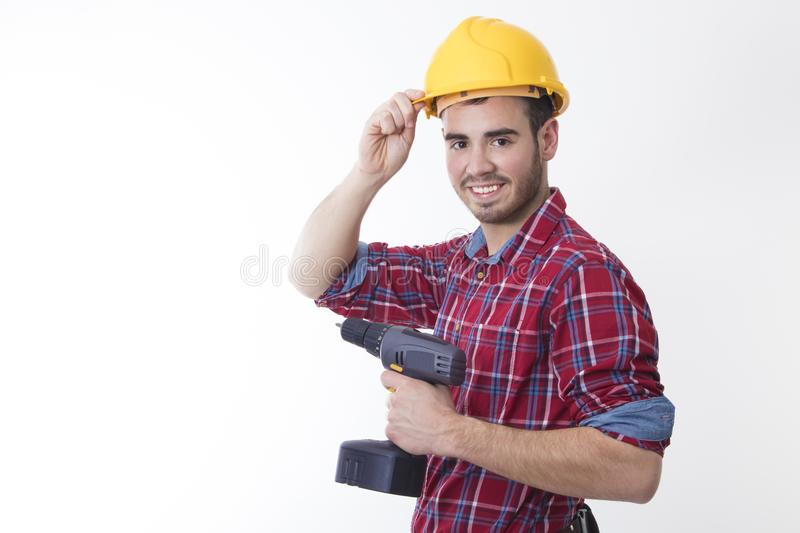 Mason or construction worker isolated with mobile phone royalty free stock photos