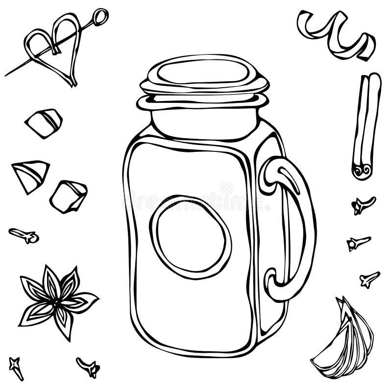Mason Drinking Jar Vintage Cocktail-Glas Hand getrokken vectorillustratie stock illustratie