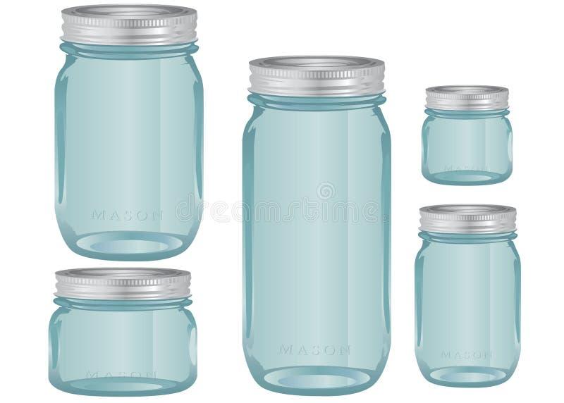 Mason Glass Jars em vários tamanhos ilustração stock