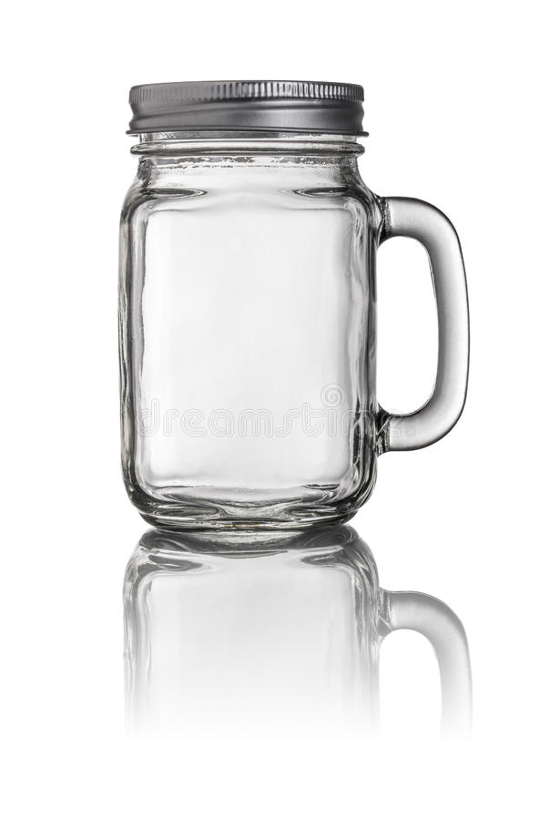 Mason Jar drinking glass. With a handle stock images