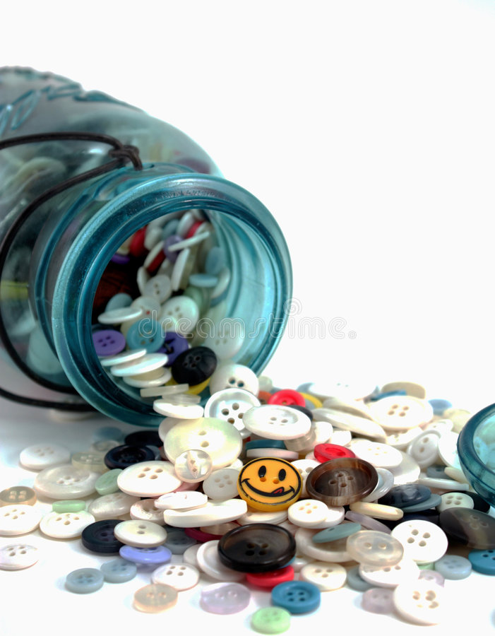 Mason Jar Full of Buttons stock photography