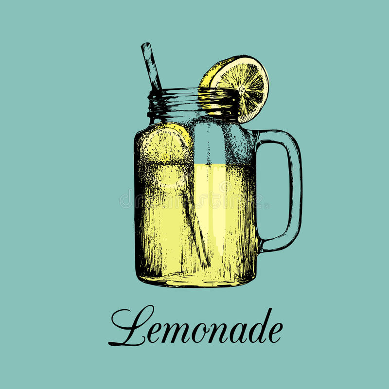 Mason jar isolated. Vector home made lemonade with straw and slice of lemon color illustration. Sketch of soft drink. stock illustration