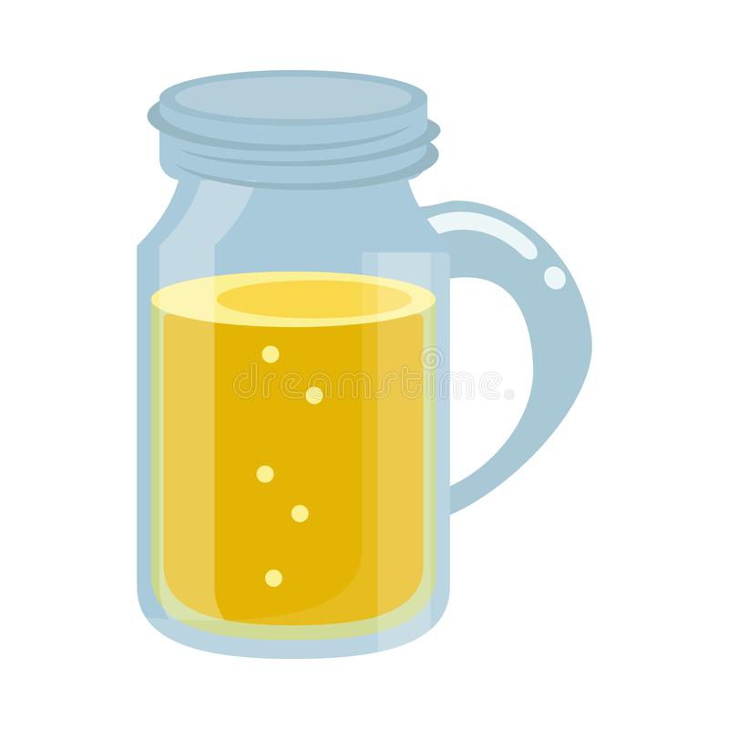 Mason jar juice cartoon isolated royalty free illustration
