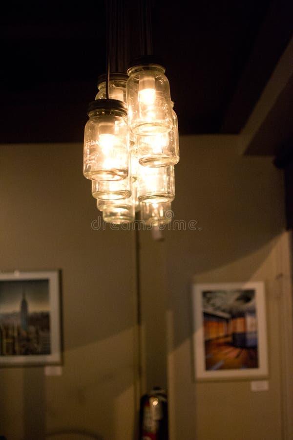 Mason Jar Lighting royaltyfri fotografi