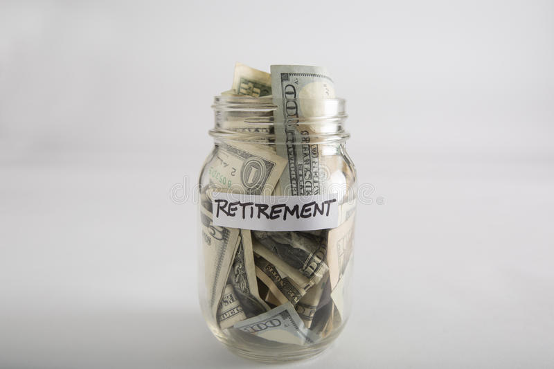Mason jar with money for Retirement royalty free stock images