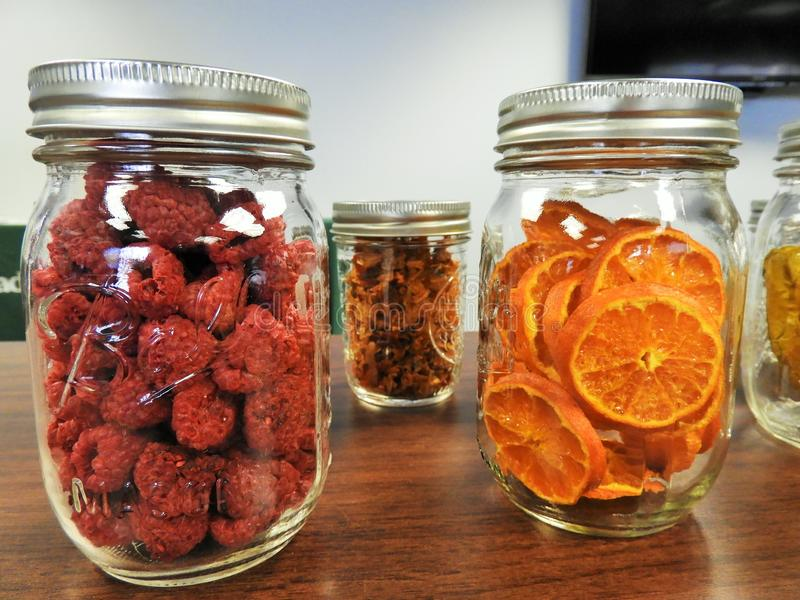 Mason Jars With Dehydrated Raspberries And Oranges Free Public Domain Cc0 Image
