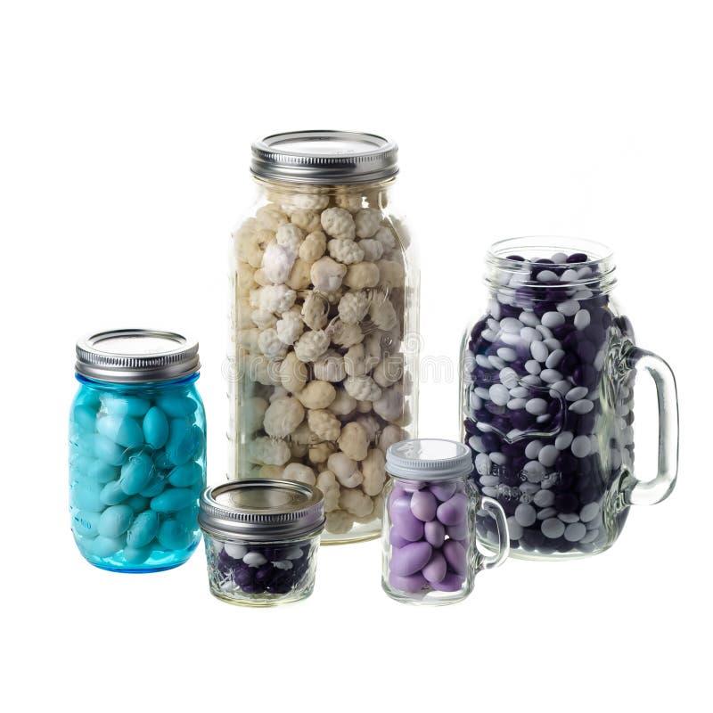 Mason jars on white background royalty free stock photography