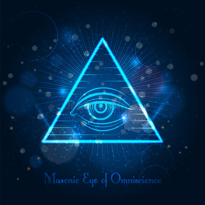 Masonic глаз на голубой сияющей предпосылке бесплатная иллюстрация