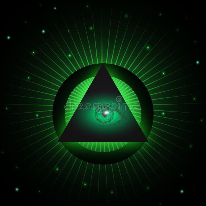 Masonic предпосылка глаза иллюстрация вектора