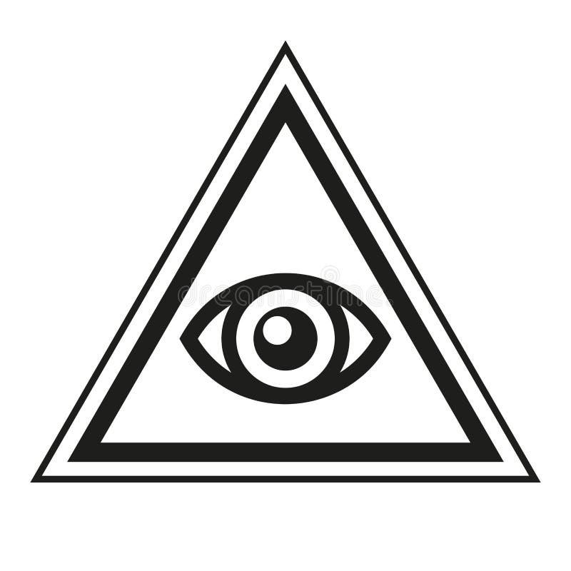 Masonic символ Полностью видя глаз внутри значка треугольника пирамиды вектор иллюстрация штока