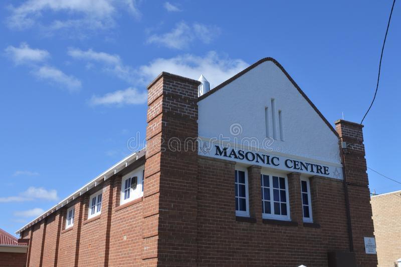 Masonic Center in Cooma Town in New South Wales Australia. Masonic Center in Cooma Town New South Wales Australia.Freemasons gathering in a Lodge to work the royalty free stock images