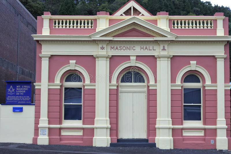 Masonic Center in Queenstown Tasmania Australia. Freemasons gathering in a Lodge to work the three basic Degrees of Entered Apprentice, Fellowcraft and Master royalty free stock image