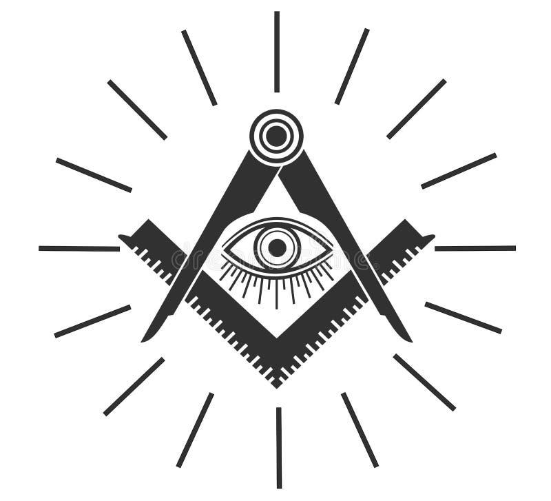 Freemasonry Emblem, Masonic Compass Symbol . Stock Vector