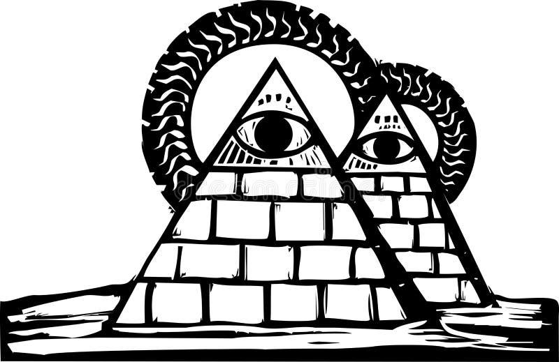 Download Masonic Pyramids stock vector. Image of masonic, woodcut - 24733989