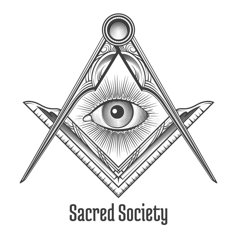 Masonic square and compass symbol. Mystic occult esoteric, sacred society. Vector illustration royalty free illustration