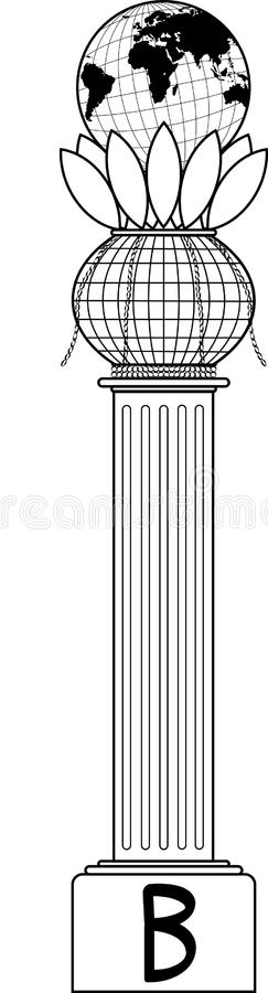 Masonic Symbol Boaz Column Stock Vector Illustration Of World