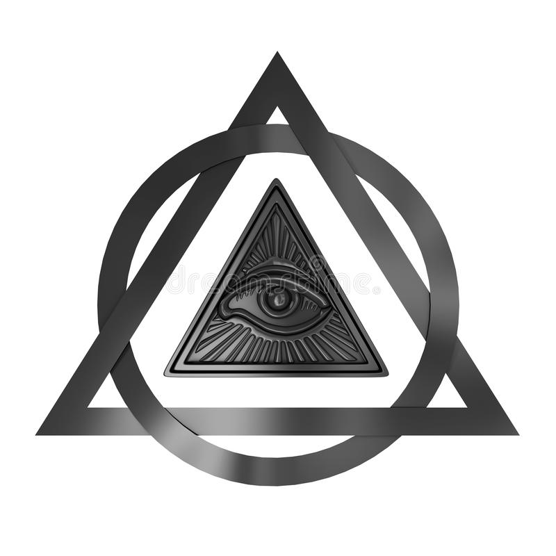 Masonic Symbol Concept All Seeing Eye Inside Pyramid Triangle