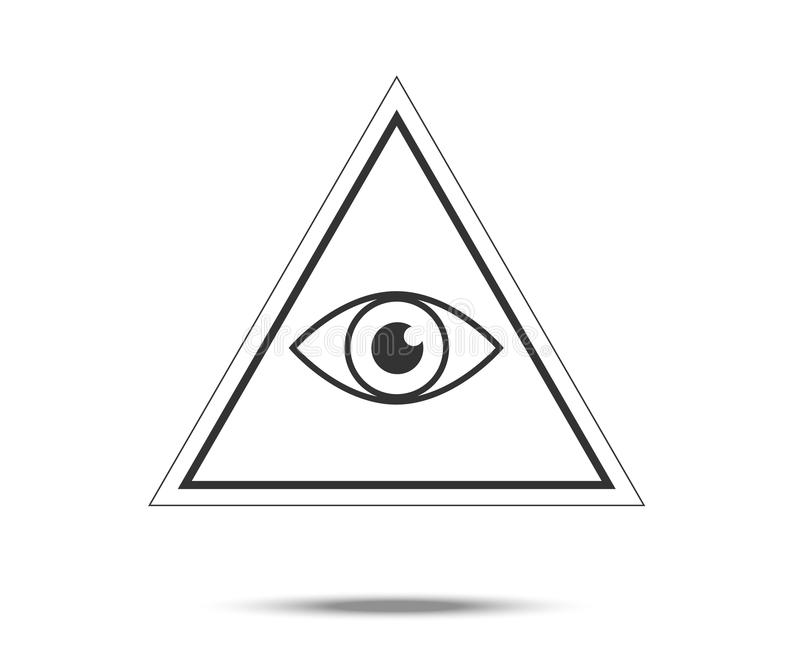 Masonic Symbol. All Seeing Eye Inside Pyramid Triangle Icon royalty free illustration
