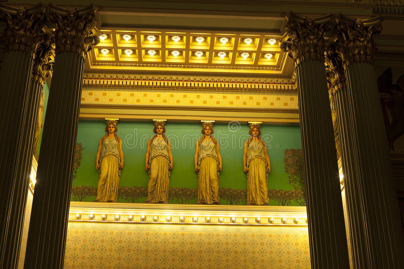 Masonic Temple. Interior of Masonic Temple in Philadelphia, Pennsylvania: the Corinthian Room with caryatids and columns. Nov. 22, 2015 royalty free stock photography