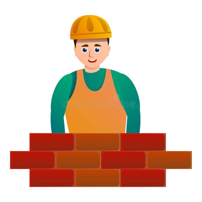 Masonry brick worker icon, cartoon style stock illustration