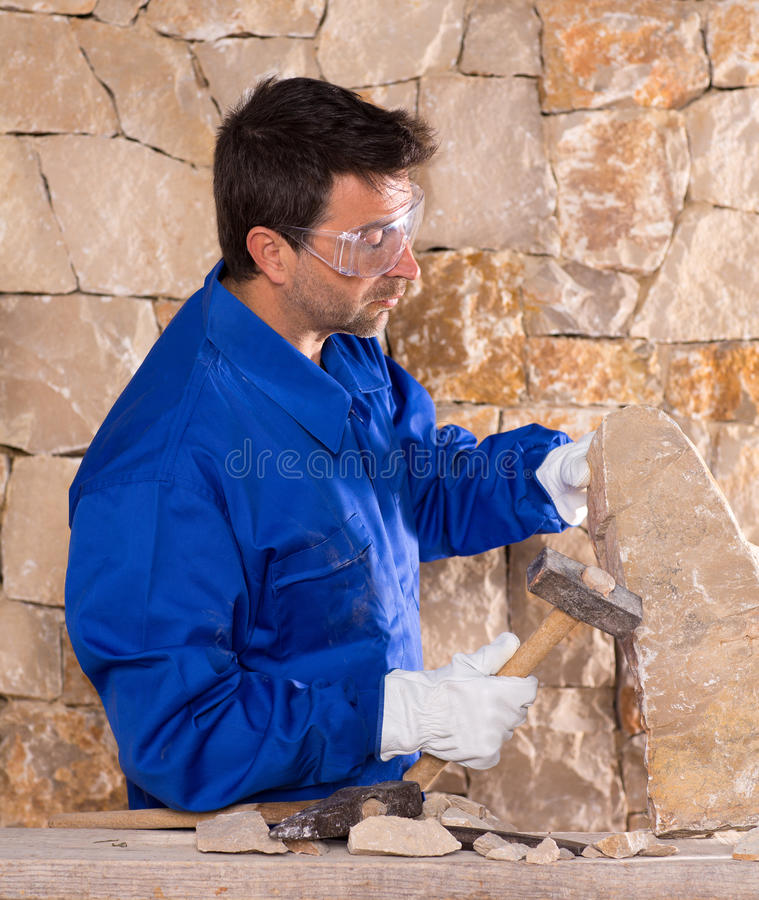 Download Masonry Mason Stonecutter Man With Hammer Working Stock Image - Image: 28944603