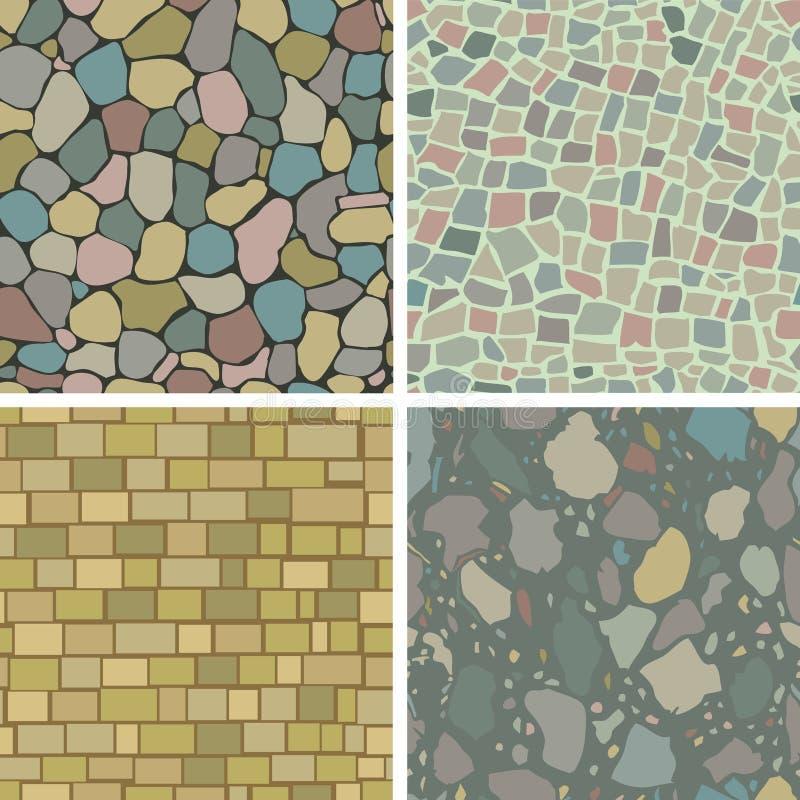 Masonry patterns. Illustration of four seamless masonry patterns royalty free illustration