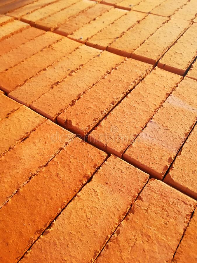 Masonry red bricks. Storage of building bricks. Production and sale of building materials. For banners stock photo