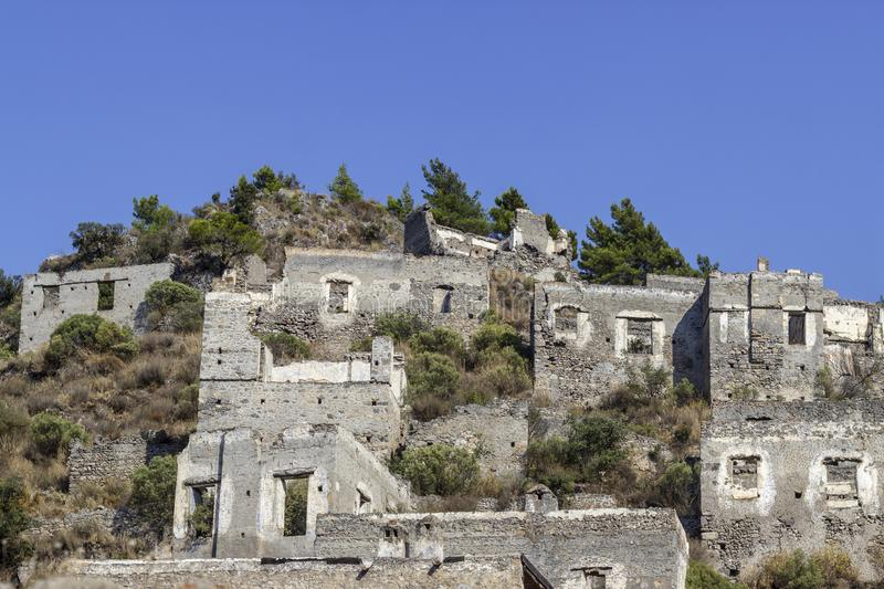 Masonry rocky made old village in Turkey founded by old Greeks. Beautiful shoot royalty free stock photo