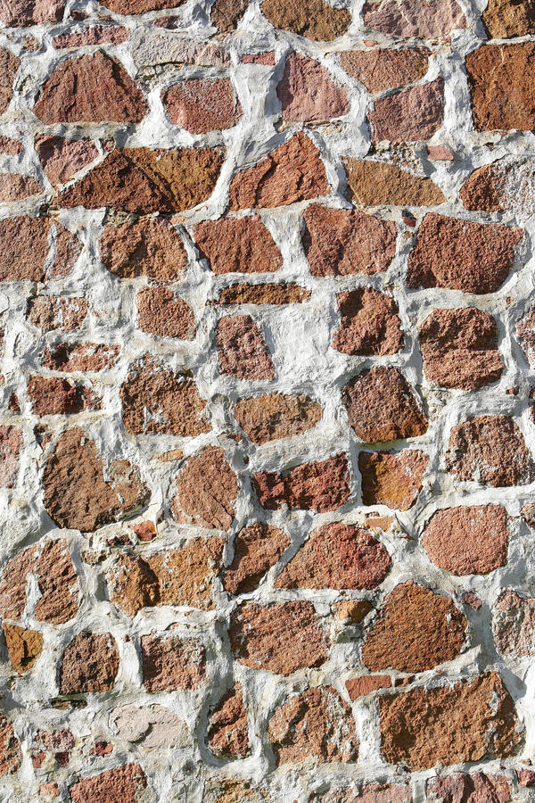 Masonry wall. Masonry wall built of red rock, Aland Islands royalty free stock photos