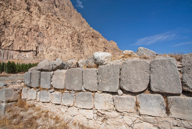 Masonry walls destroyed in the valley of the Middle East stock images