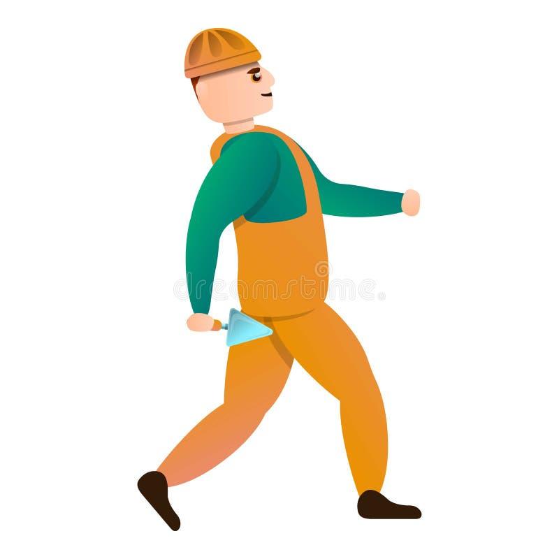 Masonry worker icon, cartoon style stock illustration