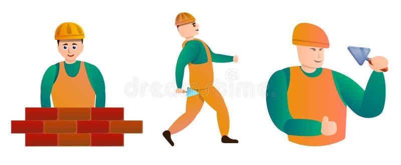Masonry worker icons set, cartoon style royalty free illustration