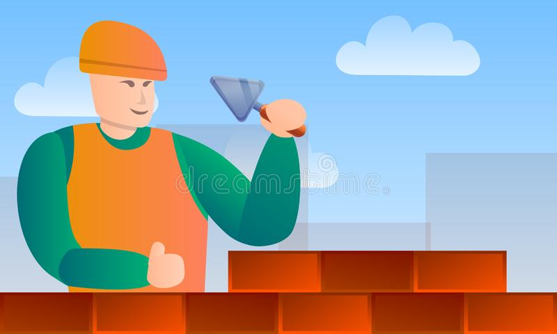 Masonry worker tools concept banner, cartoon style stock illustration