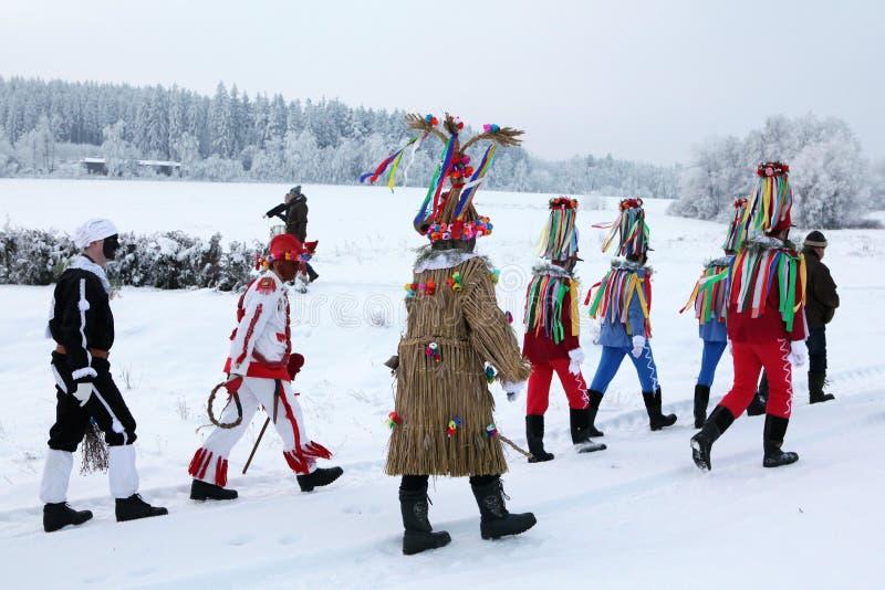 Masopust Carnival. Ceremonial Shrovetide procession, Czech Republic. VITANOV, CZECH REPUBLIC - JANUARY 26, 2013: People attend the Masopust Carnival, a stock photos