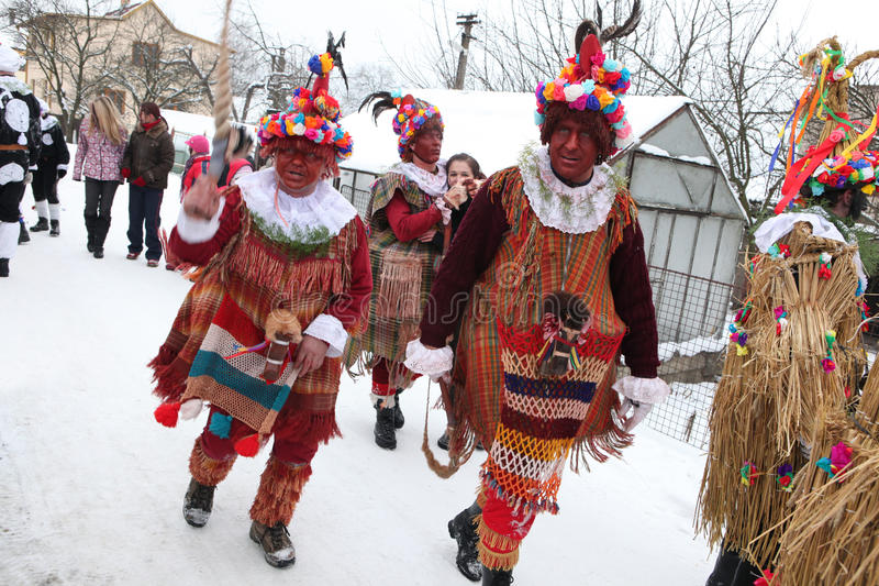 Masopust Carnival. Ceremonial Shrovetide procession, Czech Republic. VITANOV, CZECH REPUBLIC - JANUARY 26, 2013: People attend the Masopust Carnival, a stock image
