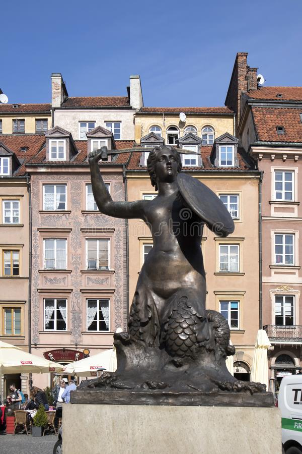 Masovian Voivodeship, Βαρσοβία, παλαιά πόλης αγορά, η γοργόνα της Βαρσοβίας στοκ εικόνες με δικαίωμα ελεύθερης χρήσης