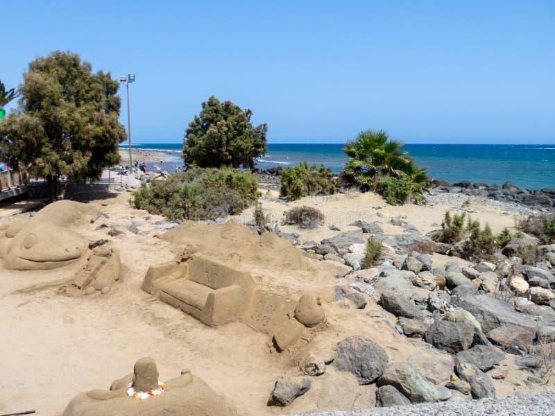 Maspalomas beach, Gran Canaria. Gran Canaria/Spain - August 8 2019: Maspalomas  is a tourist town in the south of the island of Gran Canaria, Canary Islands stock image