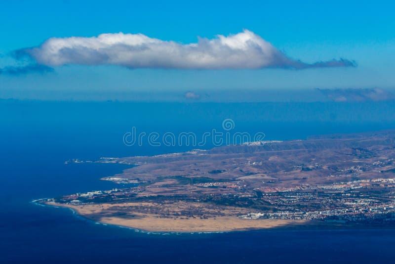 Maspalomas-Dünen von der Luft lizenzfreie stockbilder